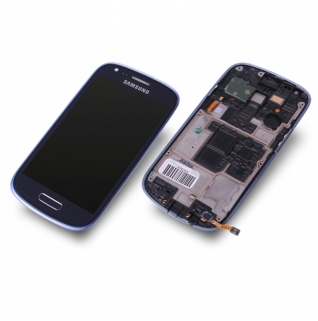 Samsung Galaxy S3 Mini GT-i8190 blau/blue Display-Modul + Touchscreen Digitizer mit Rahmen