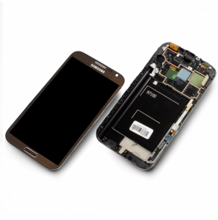 Samsung Galaxy Note 2 GT-N7100 N7100 braun/brown Display-Modul + Digitizer Rahmen