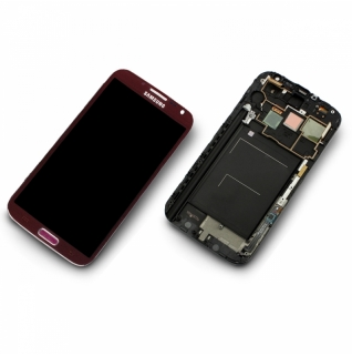 Samsung Galaxy Note 2 GT-N7100 N7100 rot/red Display-Modul + Digitizer Rahmen