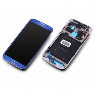 Samsung Galaxy S4 LTE GT-i9505 blau blue Display-Modul + Digitizer Rahmen