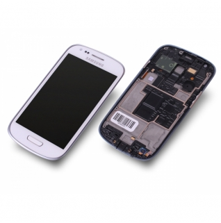 Samsung Galaxy S3 Mini GT-i8190 weiß/white Display-Modul + Touchscreen Digitizer mit Rahmen