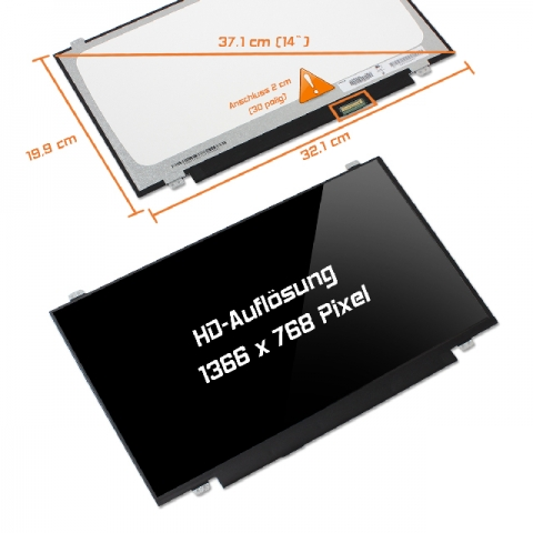 LED Display (glossy) 14 B140XTN02.4 30-Pin