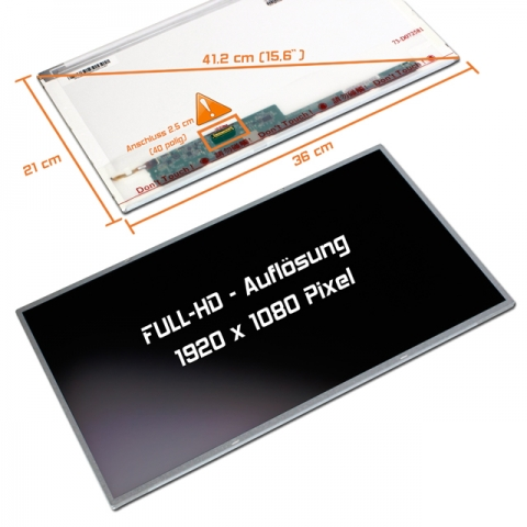 LED Display (matt) 15,6 passend für Fujitsu Lifebook Full HD E752